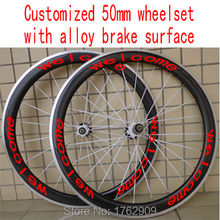 New customized 700C 50mm clincher rim Road bicycle 3K UD 12K carbon fibre bike wheelsets with alloy brake surface Free shipping