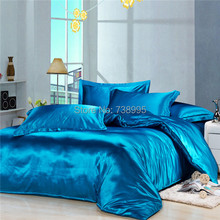 Home textile Bedding set Artifical Silk duvet cover bed set bedclothes fitted sheet Imitation silk bed linens Twin Queen&King