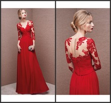 Elegant Chiffon V-neck Illusion Three Quarter Sleeves with Lace Evening Gown Floor Length Long Formal Occasion Red Evening Dress