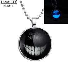 Steampunk Fire Glow in the Dark Glowing Devil Tooth Pendant Necklace Stainless Steel Chain Glass Cabochon Necklace Jewelry