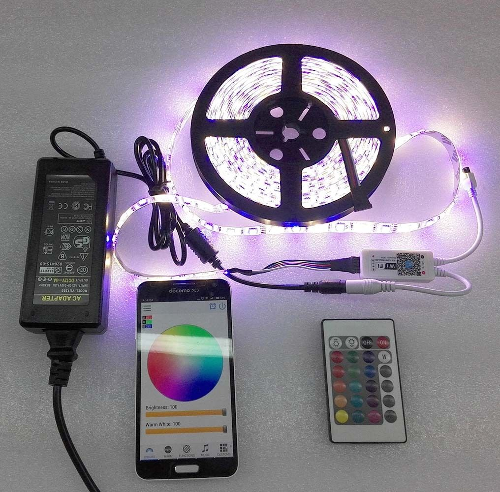 5M Waterproof IP65 RGBW / RGBWW LED Strip Light 5050 SMD 60LEDs/m + Wifi Controller By Phone APP + DC 12V Power Adapter<br>