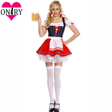 Bavarian Beer Girl Cosplay Sexy Halloween Costume For Women German Beer Maid Outfits Oktoberfest Fancy Dress Deguisement Adultes(China)