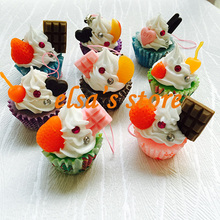wholesale 30pcs kawaii cup cake lanyard for keys minicraft cell phone charm food pendant wedding decoration Free Shipping