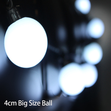 5pcs/lot Outdoor 40mm Big Size Ball Led String Light 220V/110V 5M 20leds Fairy christmas tree Decoration light For Party Garden
