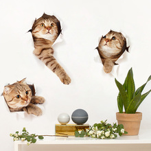 3DStereo vision cute kitten bedroom bedroom wallpaper stickers stickers decorative stickers creative students dormitory(China)