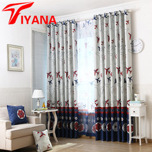 Cartoon Aircraft Football Designer Curtains for Kids Room Living Room Boys Girls Sheer Curtain for Bedroom Window Drapes P334Z20