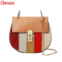 DAYGOS Women Chain Piggy Messenger Bags Lock Catch Ladies Pu Leather Shoulder Bags  Patchwork Small Purse And Handbags