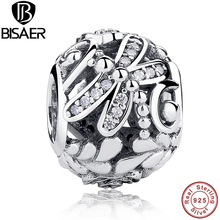 925 Sterling Silver Dragonfly Meadow Flowers Clear CZ Ball Beads Fit Pandora Charm Bracelets & Necklaces DIY Jewelry GOS184
