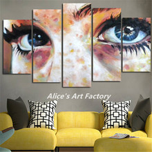 5iece Canvas Wall Art Picture Woman Eyes Art Painting Posters Printed Canvas Frame Artwork Hanging For Home Decor