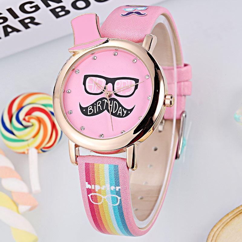 NEW Stylish Rainbow Leather Strap KEZZI Children Cute Watch Kids Fashion Full Beard Colored Dial Wristwatch Relojes K1289<br><br>Aliexpress