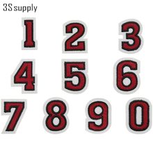 1 Set 0 to 9 Numbers Patch Embroidered Patches for Clothing Iron On Patches Basketball Soccer Jersey Red Motif Applique Sticker