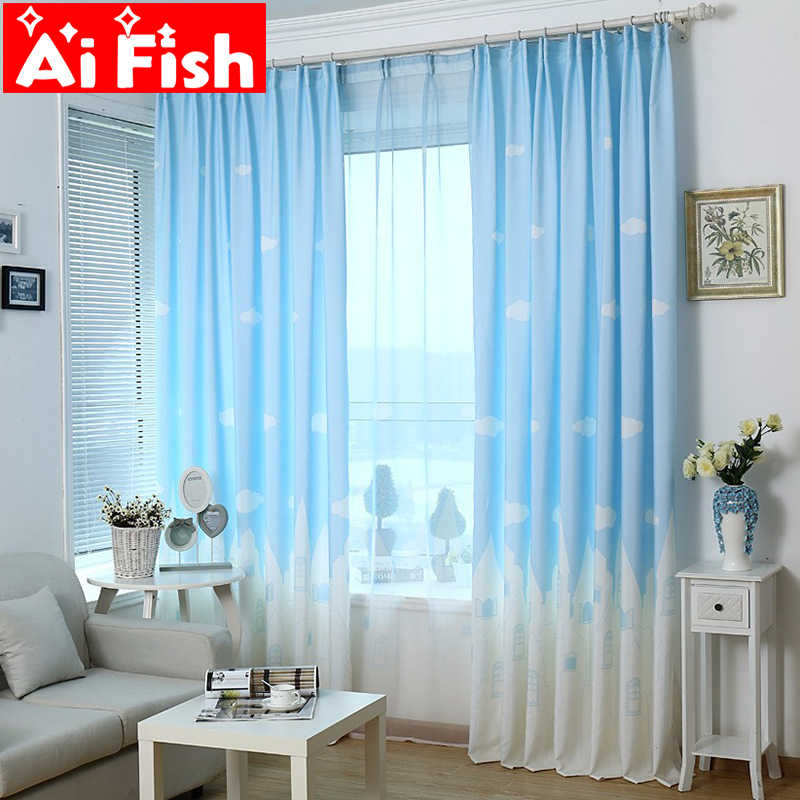 Cartoon Kid's Curtains for Living Room Sky With Clouds Castle Printing Insulation Bedroom Semi-shading Window Blinds AP126-20