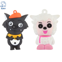 KRY Cute Silicone Model Goat and Big Big Wolf 4GB 8GB 32GB 16GB Memory Stick U Disk PenDrive Pen Drive USB Flash Drive U Disk(China)