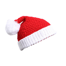 Christmas Santa Women Beanie Hats Fur Pom Bobble Beanie Hat Lady Winter Knit Ski Cap Hat Christmas Gift BBYES(China)