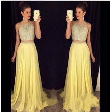 2016  Hot H007 Bling Bling Top Two Pieces Bridesmaid Dresses Yellow  Abito Damigella Wedding Party Dress Elegant New Bridesmaid