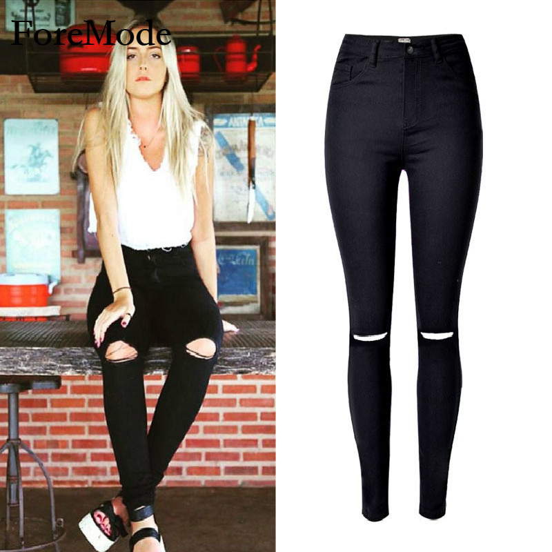 2017 streets of the popular beggar slim hole stretch jeans with a big personality  plus size women fashion jeansОдежда и ак�е��уары<br><br><br>Aliexpress