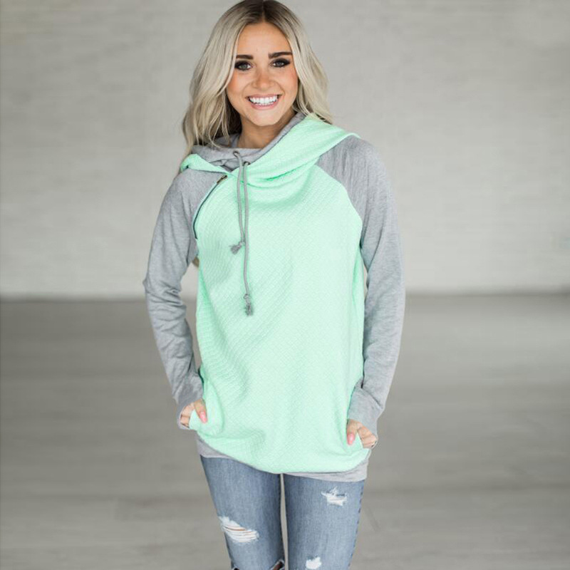 New Double Hood Sweatshirt, Women's Long Sleeve, Side Zipper Hooded Casual Pullover 6