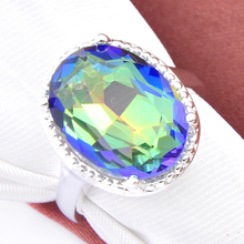 Hotting Sale Jewelry Colorful Mystic Created Crystal Austrian Crystal oval Wedding Ring For Women