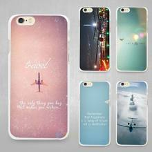 pink Travel  Aircraft Hard White Cell Phone Case Cover for Apple iPhone 4 4s 5 SE 5s 6 6s 7 Plus