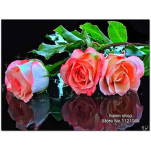 5D Diy Diamond Painting Mosaic Art Needlework Three roses Picture Of Rhinestone Cross Stitch Kit Round Diamond Embroidery XC196