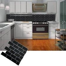 Selbst Klebe Schälen Und Stick Schwarz U Bahn Fliesen Backsplash 3D Mosaik  Wand Aufkleber Aufkleber DIY Küche Bad Home Decor Vin.
