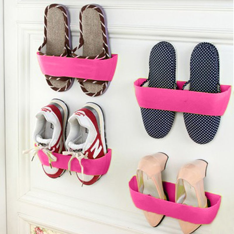Free shipping Creative Adhesive Shoes Rack Wall Hanging Shoes Organizer Hanger Hook High Quality<br><br>Aliexpress