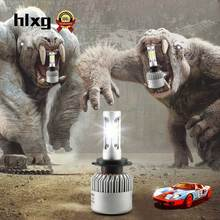 hlxg 2PCS LED Car Headlight Bulbs Car LED Lights H4 H7 H11 72W 12000LM 3 Diodes COB Chips LED Automobiles Head Lamp Front Light