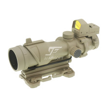 JJ Airsoft ACOG Style 4x32 Scope Full Illumination w QD Mount & Mini Red Dot & Killflash / Kill Flash (Tan) FREE SHIPPING