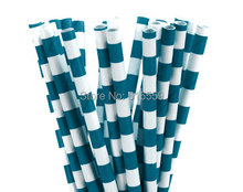 Free Shipping 100pcs Rugby Stripe Paper Straws Navy Blue,Paper Drinking Straws For Wedding Party Birthday Decoration