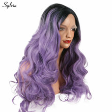 Dark Lilac Purple Soft Long Lace Front Wigs Synthetic Deep Wave Black Root To Lavender Color Heat Resistant Fiber 180% Density(China)