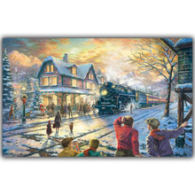Christmas Beautiful Silk Art Prints Posters Taped To The Wall Paintings Home Decoration Train On The Town HH031(China)