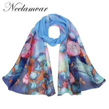 Neelamvar New Design 2017 Chiffon Silk Beach Scarf For Women Muslim Hijab Flower Floral Print Bandana Georgette Long Shawl(China)