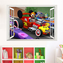 Mickey Mouse Donald Duck Racing Car Wall stickers 3D Window Home Decor Decorative Mural Poster Kids Boy Bedroom Decal(China)