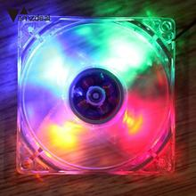 amzdeal LED Light 9-Blade CPU Cooling Fan Heat Radiation Fan Computer Fan 4 Pin 120mm Computer Case Quad For PC Computer(China)