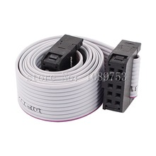 10pcs FC-10P 10 Pins 2.54mm Pitch 20cm JTAG AVR Download Cable Wire Connector Gray Flat Ribbon Data Cable(China)