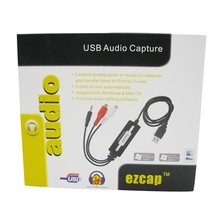 10pcs/lot Ezcap USB Audio Capture Cassette To CD/MP3 Converter MP3 WMA WAVE Recorder Edit with 3.5mm audio input(China)