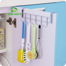 Stainless Steel Bathroom Kitchen Organizer Hanger Hooks With 5-Hook Towel Hat Coat Clothes Cabinet Draw Door Wall Hooks(China)
