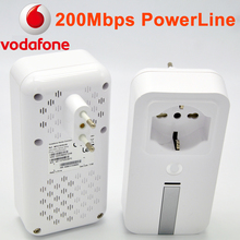 New one Pair Vodafone MFG10038-0A 200Mbps Powerline Homeplug Av Network Adapter Extender Power Line Plc With Ethernet Adapter(China)