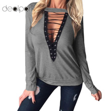 2017 New Fashion Women Lace Up T-Shirt Sexy Deep V-Neck Hollow Out Top Long Sleeve Tshirt Casual Basic Top Plus Size 3XL XXXXXL(China)