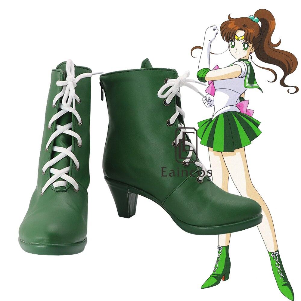 New Anime Sailor Moon Kino Makoto Sailor Jupiter Cosplay Shoes Green Women Boots