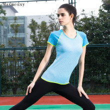 Maxmessy Women Yoga Shirts Quick Dry Fitness Running Sports Top Gym Strip T Shirt for Bodybuilding Runnnig Tennis Sportswear