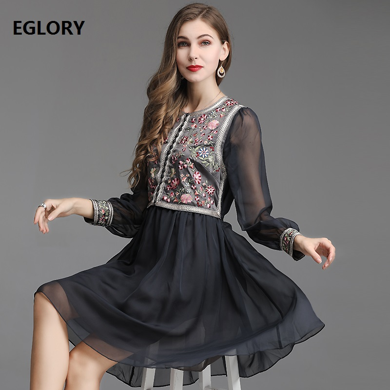Luxury Dress 2019 Spring Summer Vintage Party Elegant Women Exquisite Embroidery Long Sleeve Large Swing Dark Blue Pink Dress