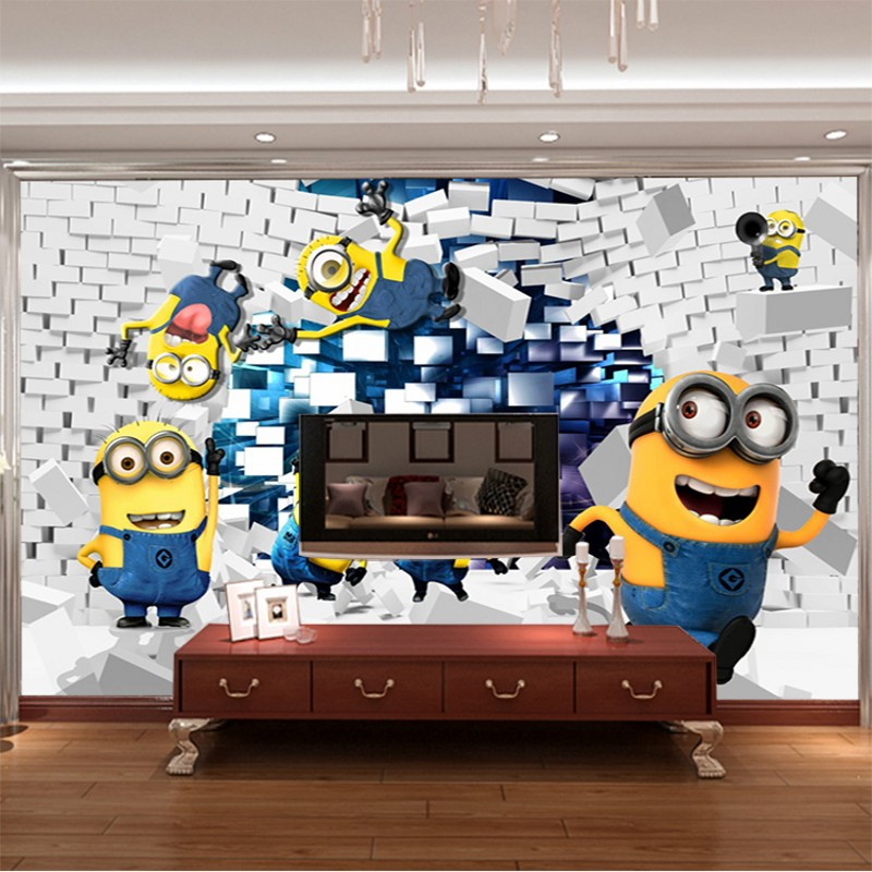3d stereoscopic television background wallpaper the living room sofa bedroom childrens room wallpaper little yellow people<br><br>Aliexpress