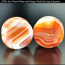 1Pair Sardonyx  Ear Tunnels Natural Organic Stone Plugs and Gauges Flesh Body Piercing Ear Expander Reamer 6mm-16mm