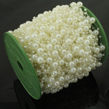 5 Meters Fishing Line Artificial Pearls Beads Chain Garland Flowers Wedding Party Decoration Products Supply Beige/White(China)