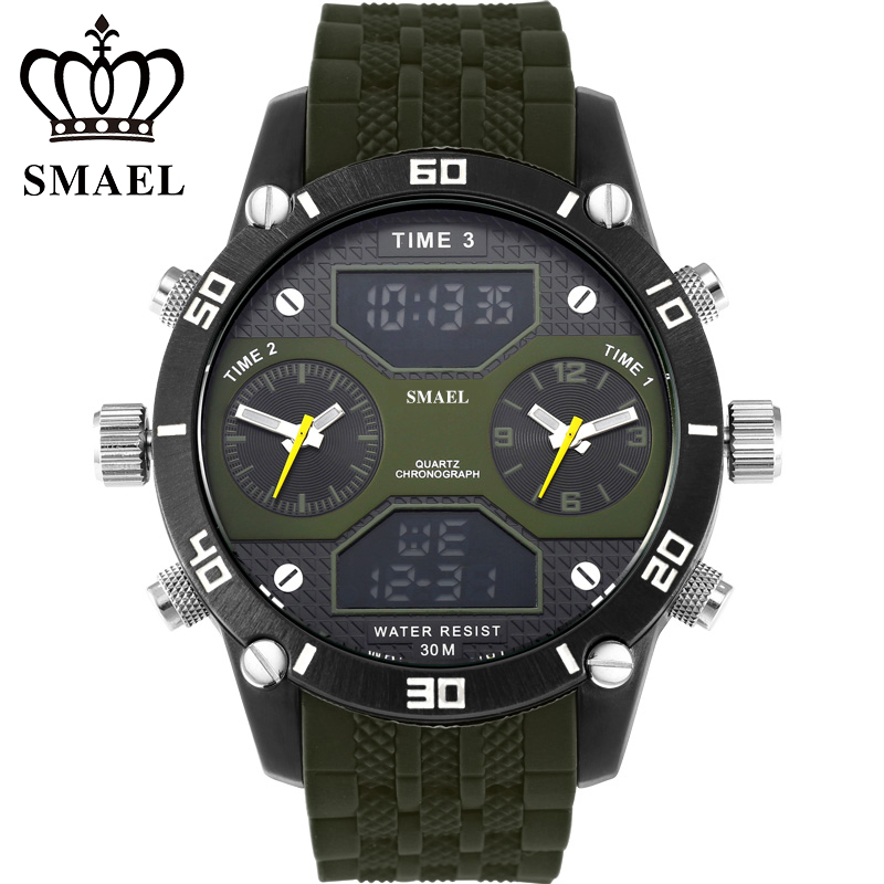 SMAELBrand Three Time Display Military Watches Water Resistant IP Alloy Big Dial Quartz Watches Army Casual Wristwatch WS1159<br><br>Aliexpress