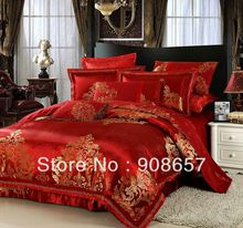 red gold luxurious bedding set 10 pcs Queen bed in a bag set Quilted sheet Jacquard Satin Cotton Fabric quilt/duvet covers