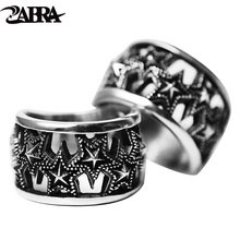ZABRA Solid Pure 925 Sterling Silver 15mm Hollow Stars Vintage Retro Ring Men Women Steampunk Cool Summer Gift Mens Ring Jewelry(China)