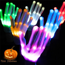 Hot Selling 7 Mode Light Gloves LED Gloves Finger Lighting Electro Rave Party Dance(China)