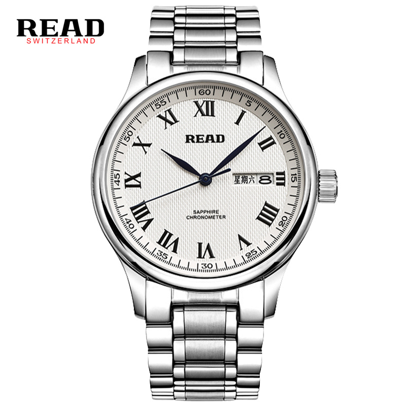 READ New week and calendar  full stainless steel wrist clock watches for men  6003 sapphire crystal relojes hombre 2017 silver <br>